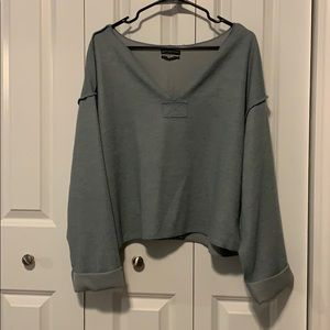UO Cropped Ribbed Pullover Top - Size M